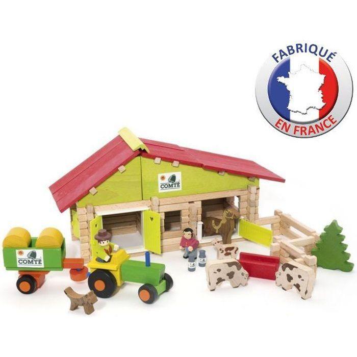JEUJURA - Ferme en bois avec Tracteur et Animaux - 140 pcs