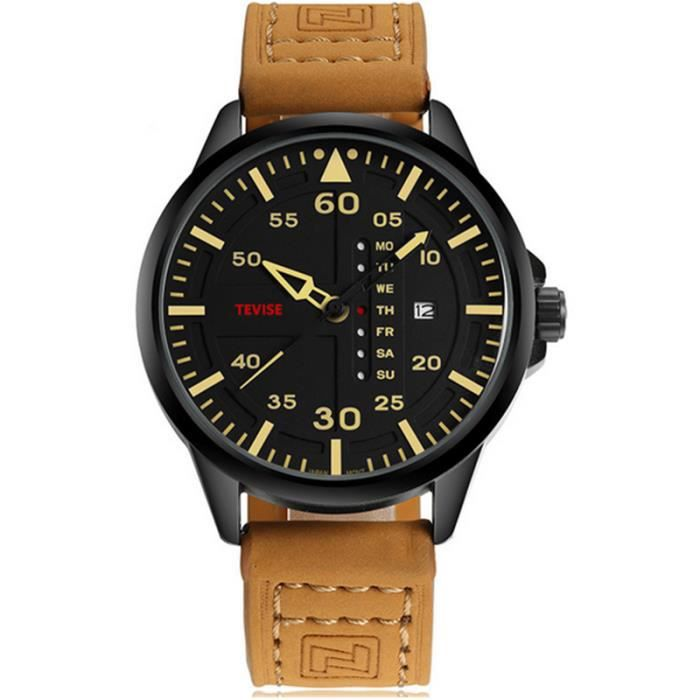 Top Luxe Marque TEVISE  Hommes Sport Montres Hommes Quartz Date Horloge Homme En Cuir ArméE Militaire Montre Relogio Masculin