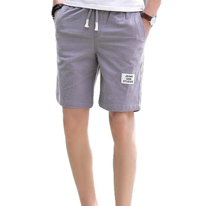 Short Homme mode baggy Short de grande taille Short de sport uni Ceinture Bermuda Homme