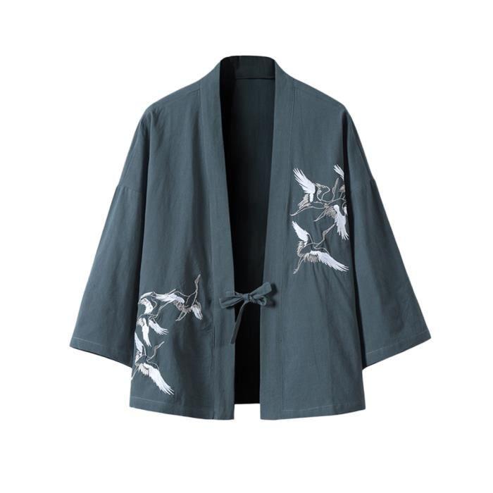Hommes Cardigan Cloak Cardigan Yukata Impression Cardigan 3-4 Manche,Cardigan en Lin Style Chinois Broderie Rétro D'été BleuA