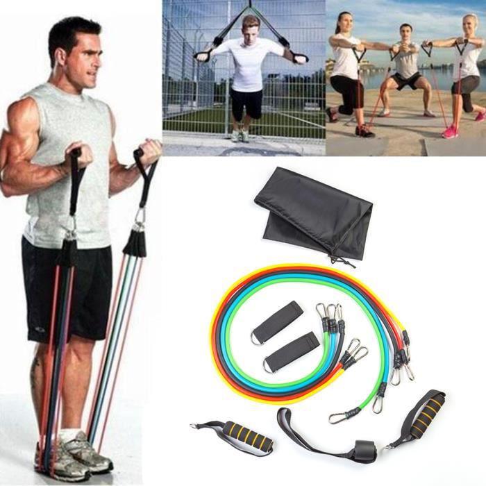 set bande elastique fitness musculation 11 sport de resistance traction large cheville pied kit sangle exercice homme