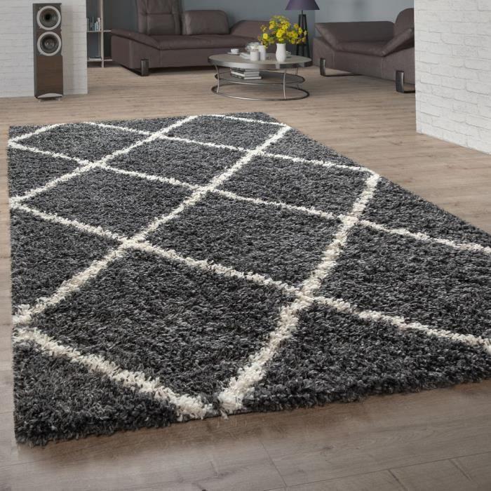 Tapis Poils Longs, Shaggy Pour Salon, Design Scandinave Et Losanges Gris Foncé [150 cm carré]
