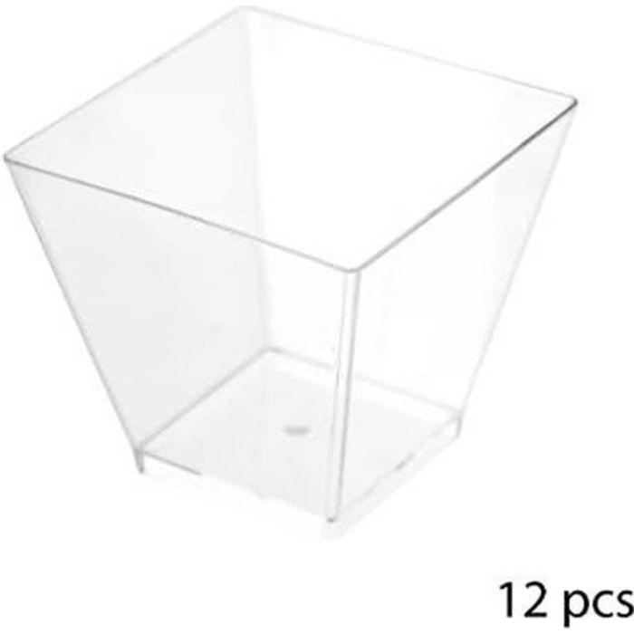 Lot de 12 Verrines Plastique -Carré- 6cl Transparent
