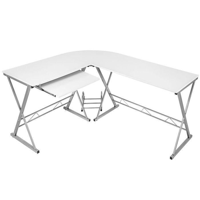 TECTAKE Bureau d'Angle Design Informatique Multimédia 170 cm x 135 cm x 75 cm Blanc + 1 Tablette + 1 Support Unité Centrale
