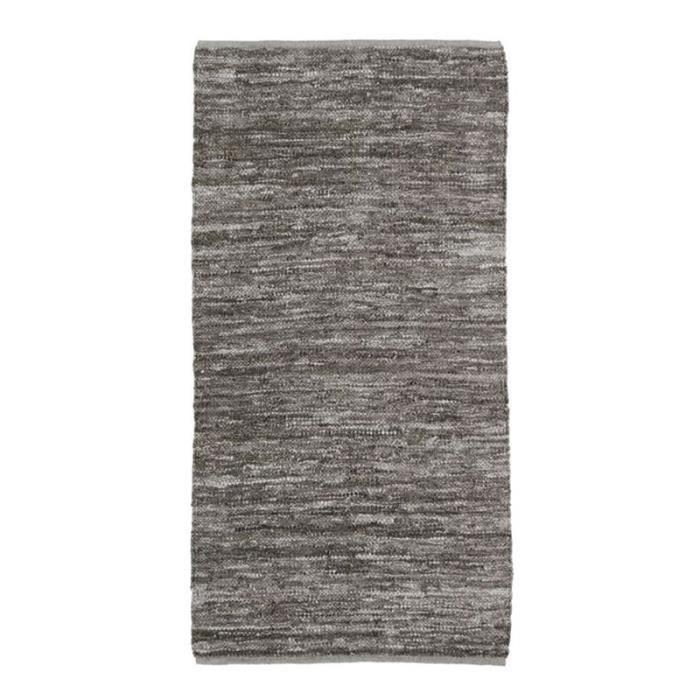 SKIN - Tapis en cuir tressé taupe 60x120