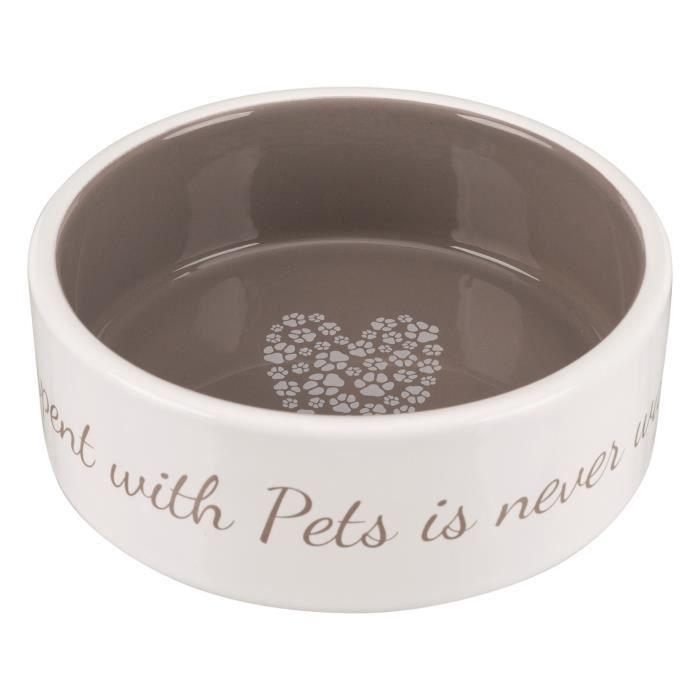 TRIXIE Écuelle céramique Pet's Home - 0,3 L - Ø 12 cm - Crème et taupe - Pour chien