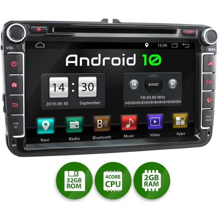 XOMAX XM-11GA Autoradio avec Android 10 approprié pour VW Seat Skoda, 4Core, 2GB RAM, 32GB ROM I Navigation GPS I Support WiFi, WLAN