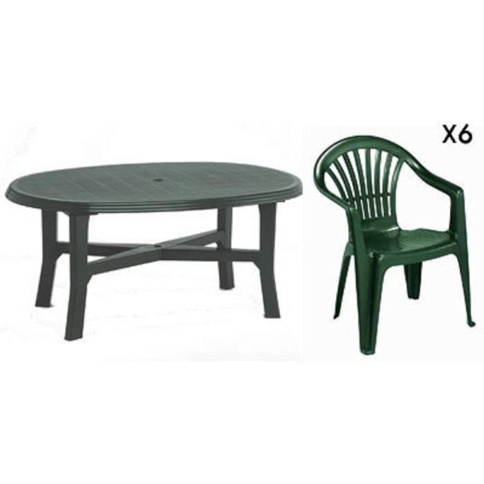Table ovale verte + 6 fauteuils jardin plastique vert ...