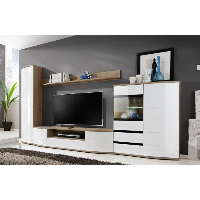 meuble tv complet ontario grand mod le meuble pour salon design corps ch ne fa ades blanches. Black Bedroom Furniture Sets. Home Design Ideas