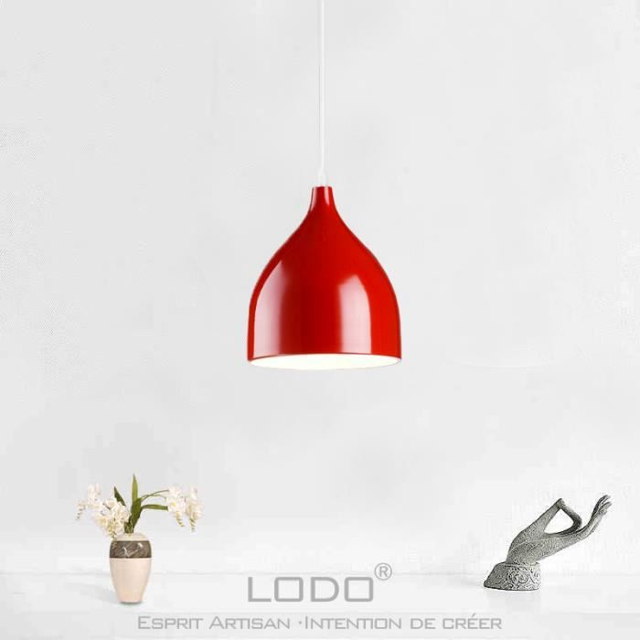 Creative design lustre suspension m tal couleur rouge x1 achat vente cr - Suspension cuisine rouge ...