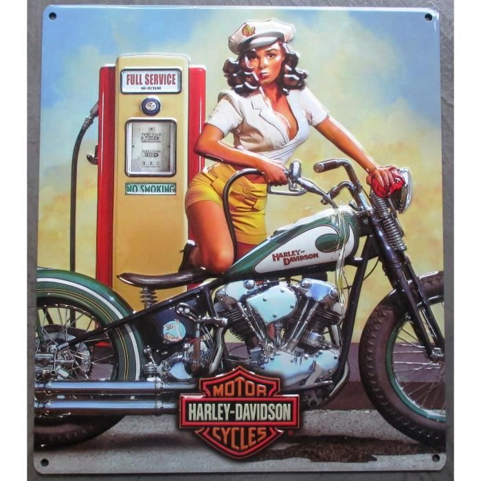 Plaque publicitaire harley davidson pinup ann e 50 achat for Decoration murale annee 50