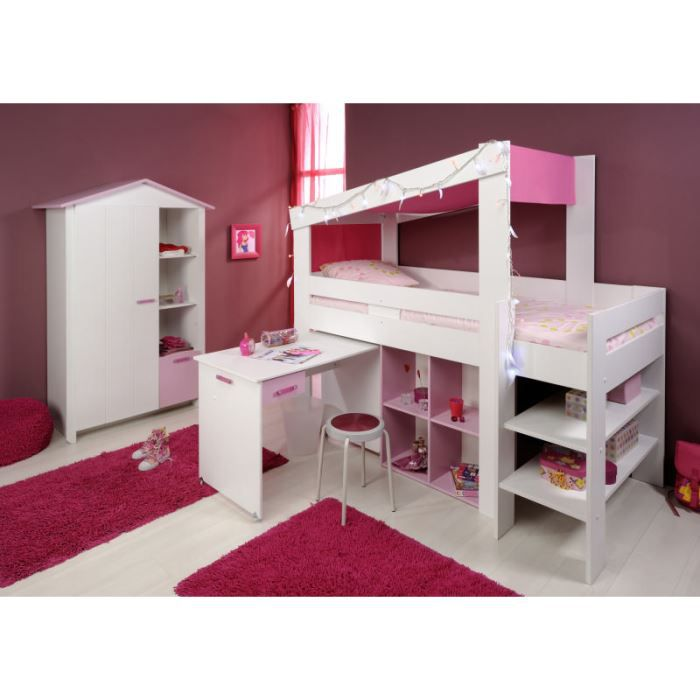 lit combin fille 39 lady 39 achat vente lit combine cdiscount. Black Bedroom Furniture Sets. Home Design Ideas
