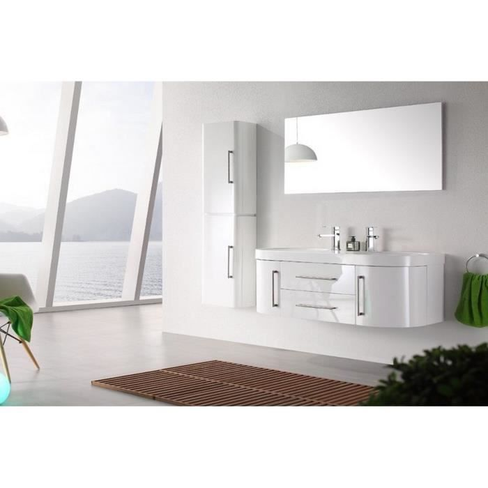 meuble salle de bain 2 vasques blanc laqu brillant 120 cm. Black Bedroom Furniture Sets. Home Design Ideas