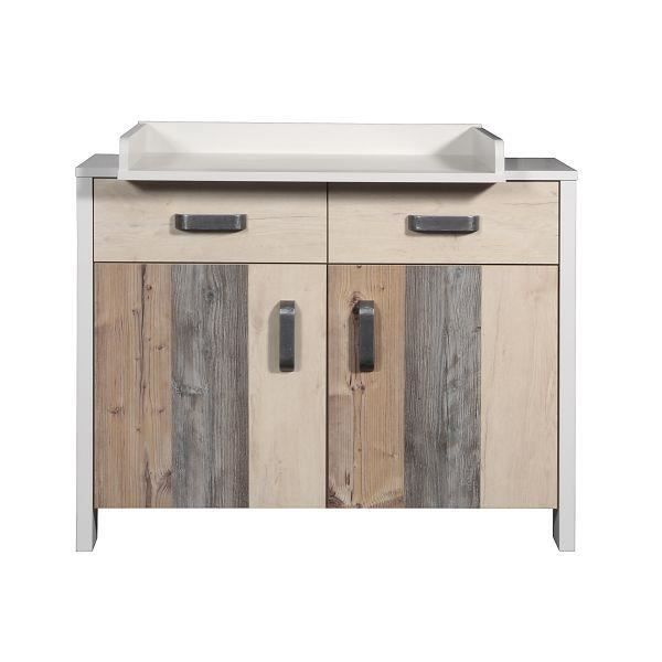 Commode langer b b hoody marron achat vente table for Transformer commode en table a langer