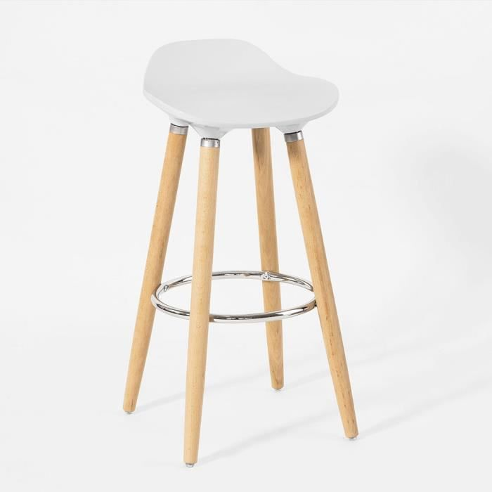 tabouret bar blanc pied en bois achat vente tabouret bar blanc pied en bois pas cher cdiscount. Black Bedroom Furniture Sets. Home Design Ideas