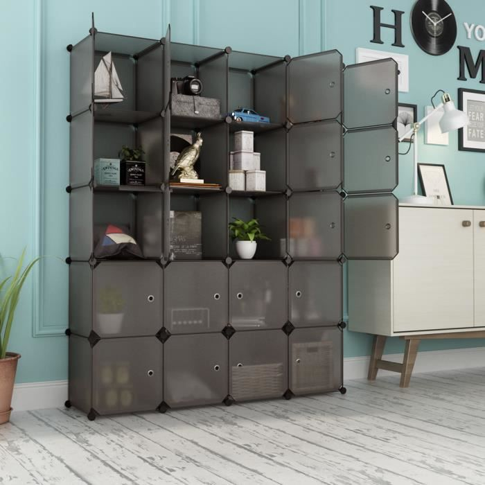 armoire de rangement 20 cubes en plastique etag re modulaire diy langria achat vente armoire. Black Bedroom Furniture Sets. Home Design Ideas