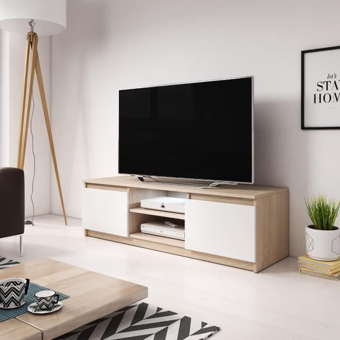 Meuble Tv Meuble Salon Permys 120 Cm Chene Sonoma Clair Blanc Mat Avec Style Moderne Achat Vente Meuble Tv Meuble Tv Permys Cdiscount