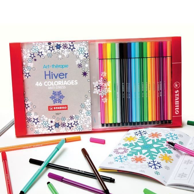 Coloriage Anti Stress Feutre.Art Therapie Coffret De Coloriage Anti Stress Carnet Hiver