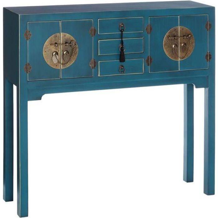 CONSOLE Console 4 portes, 3 tiroirs Bleue Meuble Chinois -