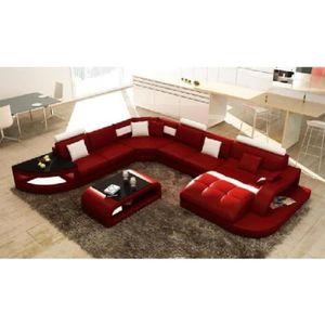 CANAPÉ - SOFA - DIVAN Canapé d'angle design panoramique rouge et blanc I