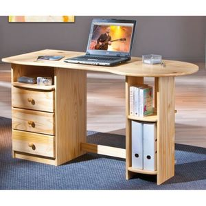 bureau en pin verni achat vente bureau en pin verni pas cher cdiscount. Black Bedroom Furniture Sets. Home Design Ideas