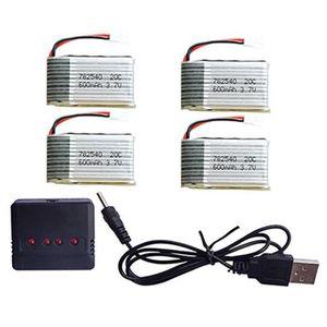 Fytoo 2PCS 7.4V 350 mAh Batterie au Lithium avec 1PCS 2 in 1Charger pour MJX X401H X402 Accessoires pour a/éronefs /à Quatre Axes t/él/écommande h/élicopt/ère Batterie