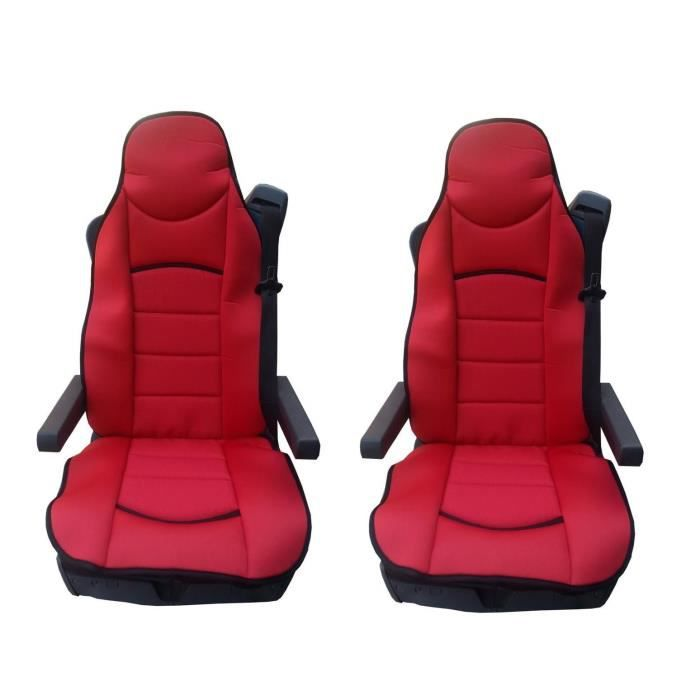 2x LUXE HOUSSE COUVRE SIEGE COUVRE-SIEGE ROUGE POUR MERCEDES ACTROS AXOR ATEGO