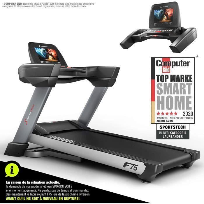 Sportstech F75 Tapis de Course Electrique Pliable Professionnel avec Grande Surface 1580x600mm, écran 15,6'' Android, wi-FI, USB, Pe