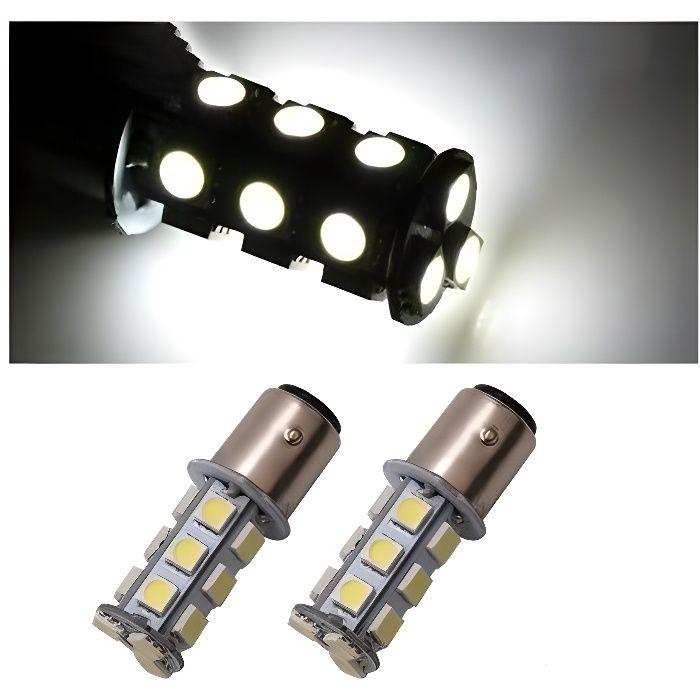 2x ampoule BAY15D LED P21/5W 18 SMD 6000K Blanc Veilleuse Frein Feux de jour 1157