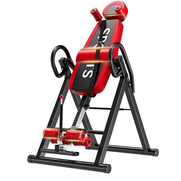 Table d'Inversion Pliable Musculation Appareil du Dos Bras Réglable 185cm Inversion 180° Support jusqu'à 150kg,Sport Exercice Rouge