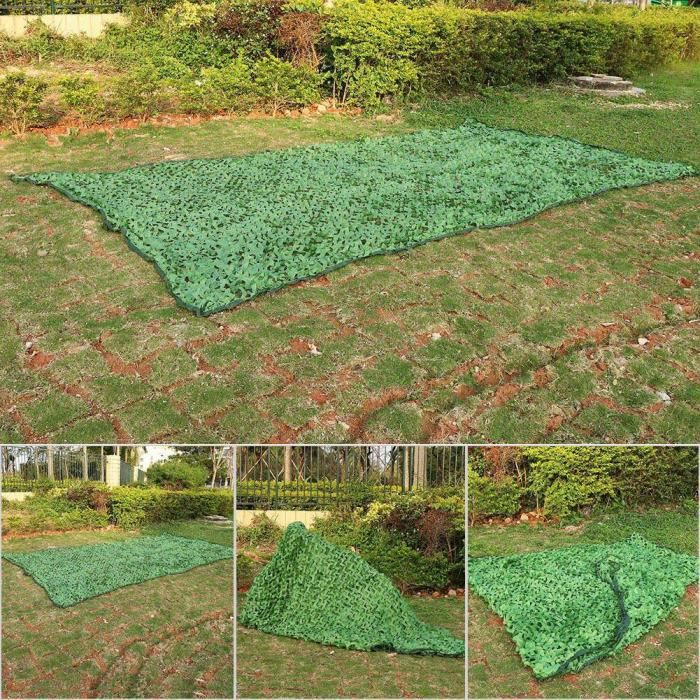 Filet de camouflage, 1.5x7m Camping en plein air Jungle Camouflage Woodlands Camouflage Stores Couverture Net (Vert Armée)-GUA