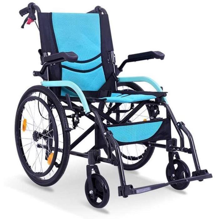 AOLI Fauteuil roulant, fauteuil pliant, portable amovible Repose-pieds ergonomique ass et du dossier, Largeur du siège 46cm Noi386