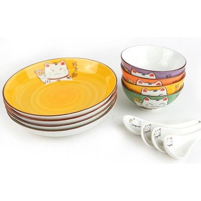 Coffret Repas - Maneki Neko - Design Japonais - 4 Personnes