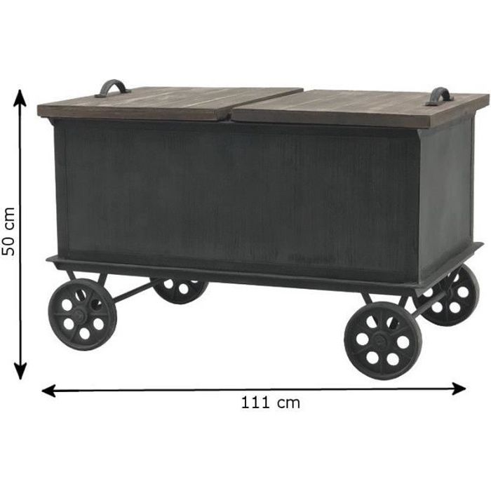 Style Ancienne Grande Table Basse Coffre à Roulettes 111 cm x 65 cm