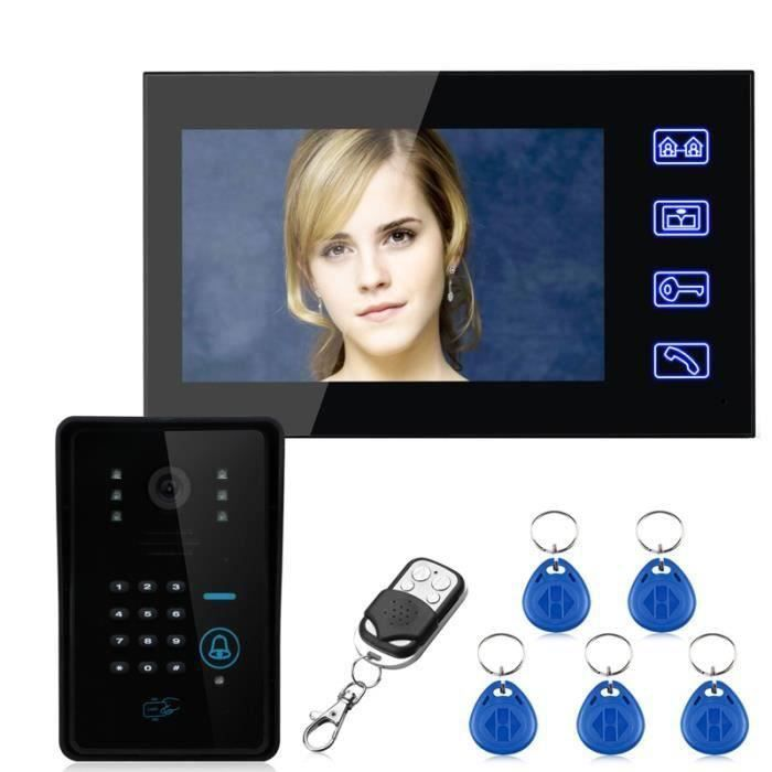 Touch Key 7 - Lcd RFID Password Video Visiophone Interphone System with IR Camera 1000 TV Line Remote Access Control System