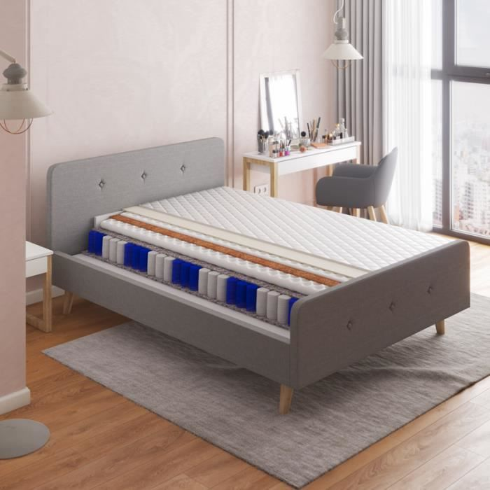 Matelas - MICELLAI - 140 x 200 cm - à ressorts ensachés - 7 zones de confort - avec housse antiallergique - garantie d'un sommeil...