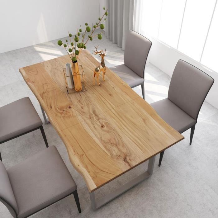 Table à manger de 6 à 8 personnes Industriel et Rustique - Bois d'acacia massif + Pieds en Acier Argenté - 180x90x76 cm
