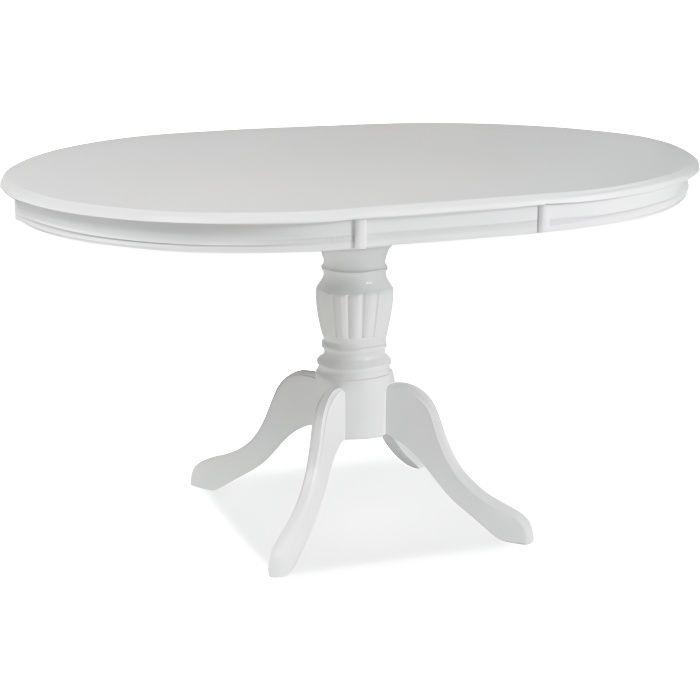 OLIMIA - Table élégante pour la salle à manger - 106x106x76 cm - Plateau ovale - Piètement en bois - Extensible - Blanc
