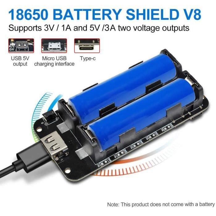 Barebones diymore 18650 Blindage de Batterie V8 3V 5V Port USB Micro Type-A USB avec Câble pour Raspberry Pi Arduino ESP 11611