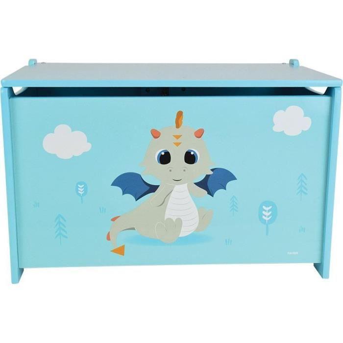 FUN HOUSE Léon le Dragon 713305 COFFRE A JOUETS EN BOIS Dimensions : ± H. 40 x L. 58 x P. 36 cm pour enfant