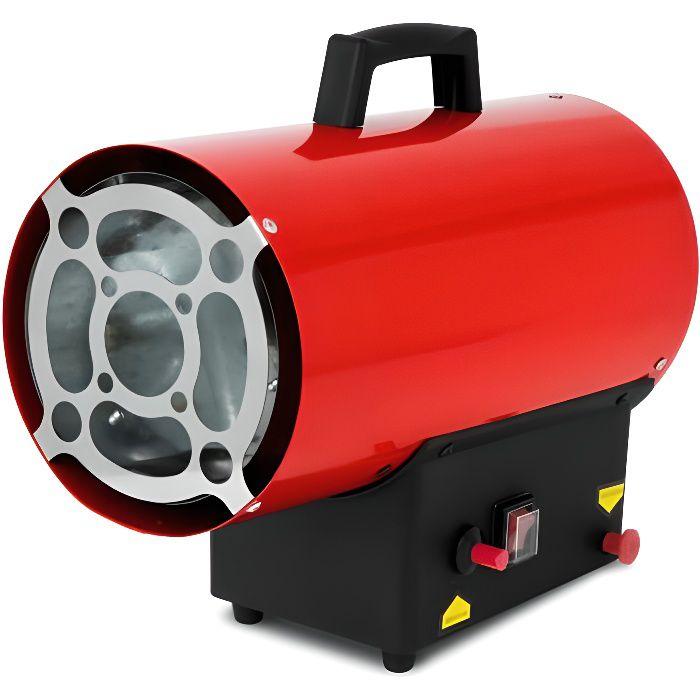 EBERTH Ventilateur à gaz de 15kW (incl. tuyau de gaz et régulateur de pression, protection contre la surchauffe et flammes intégrés)