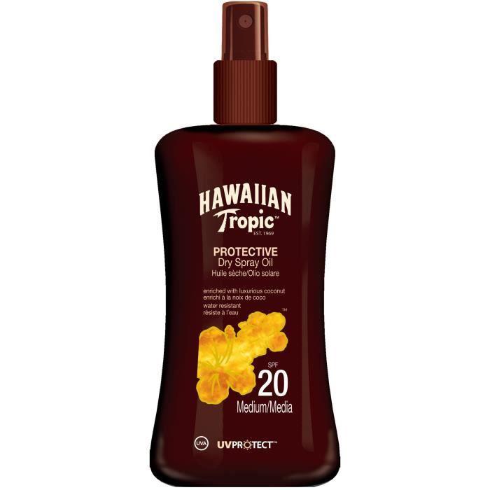 HAWAIIAN TROPIC Spray huile sèche solaire protectrice - SPF 20 - Noix de coco - 200 ml