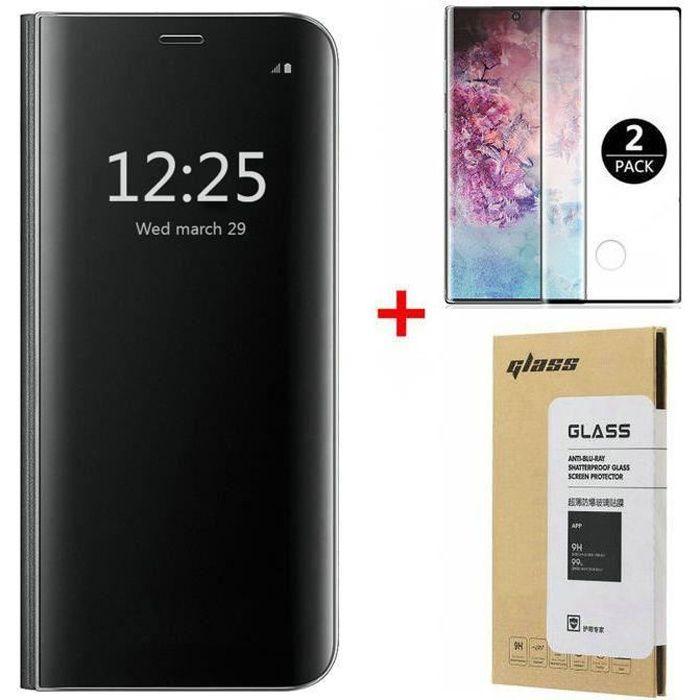 Coque Samsung Galaxy Note 10, + [2 Pack] Verre trempé 3D Déverrouillage d'empreintes digitales, Miroir Flip Case Housse Étui pour