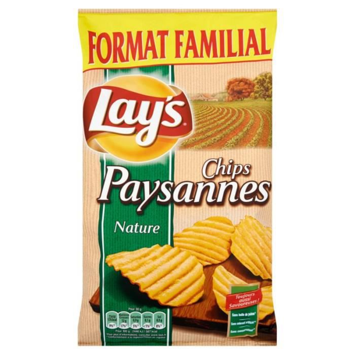LAY'S Chips paysannes ondulées nature - 300 g