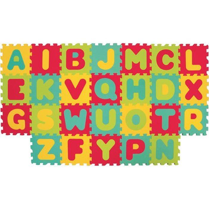LUDI – Tapis de sol épais et jouet Éducatif – 1054 - puzzle géant aux motifs Lettres – dès 10 mois – lot de 26 dalles en mousse
