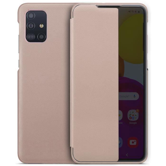 Coque Galaxy A71, Avec Fonction Sommeil Intelligent/Réveillez Automatiquement,Bumper Étui Housse pour Samsung Galaxy A71 (Rose)