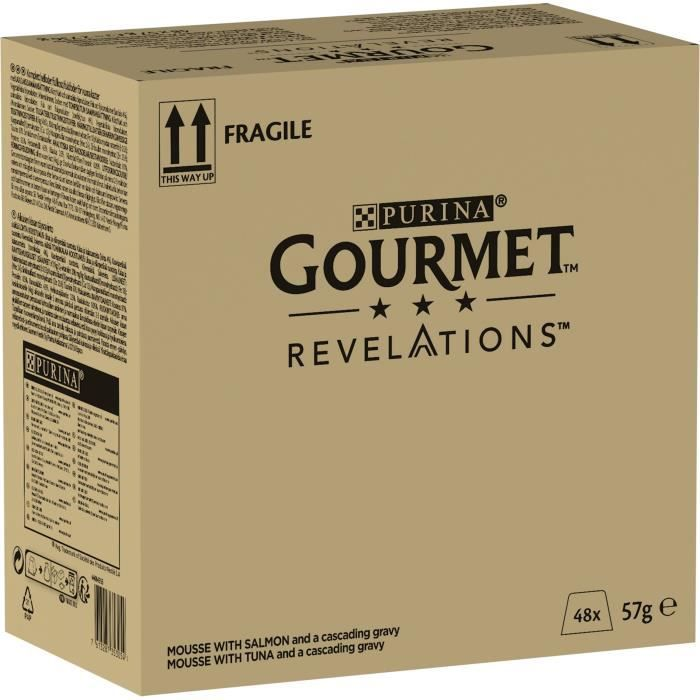 PURINA GOURMET™ REVELATIONS™ Mousseline au Thon et saumon nappée de sauce - 4 x 57 g