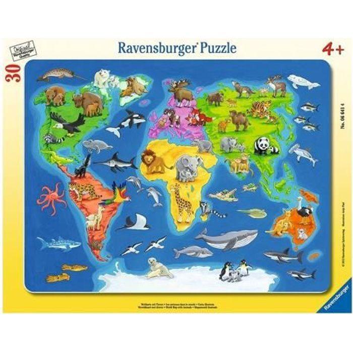 Puzzle Enfant Avec Cadre 30 Pieces - La Carte Du Monde Et Les Animaux - Ravensburger