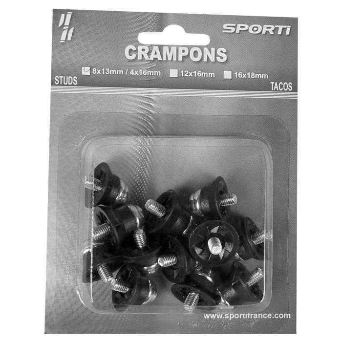 Crampons alu/nylon Blister de 12 crampons/8x13mm + 4x16mm Sporti France - noir/argent - TU