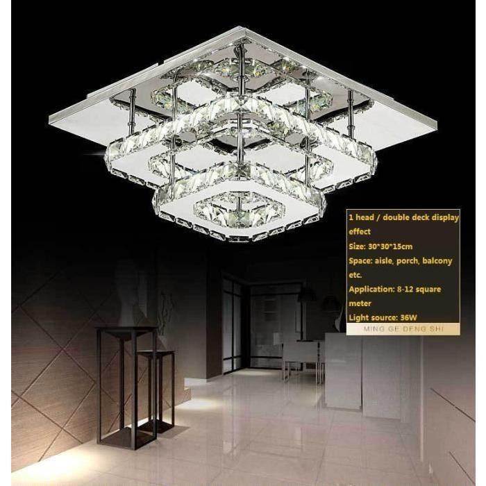 T&T Plafonnier Lampe Cristal Lampe de Plafond Acier Inoxydable LED Miroir 36W Lustre moderne en cristal pour salon, chambre à couche